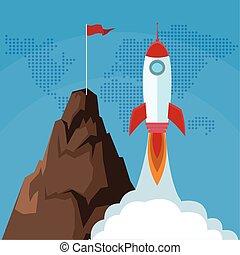 bandiera, lancio, su, inizio, successo, affari, razzo, montagna