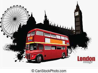 bandiera, londra, grunge, autobus