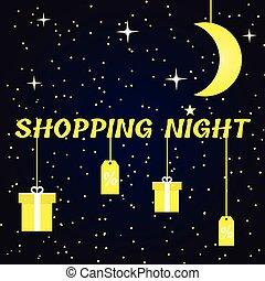 bandiera, lucente, shopping, notte
