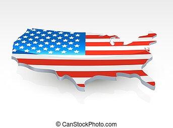 bandiera, map., forma, stati uniti, 3d