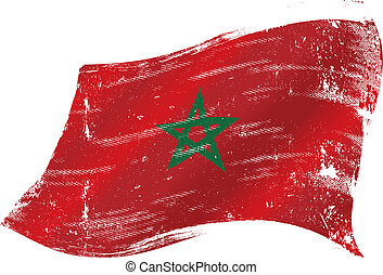 bandiera, marocco, grunge
