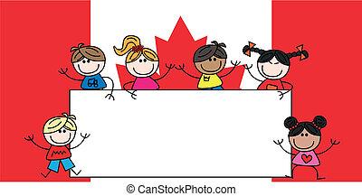 bandiera, mescolato, bambini, etnico, canadese