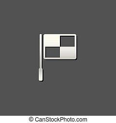 bandiera, metallico, -, guardalinee, icona