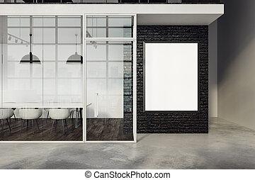 bandiera, moderno, stanza riunione, vuoto