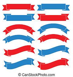 bandiera nastro, set, vecchio, illustrazione