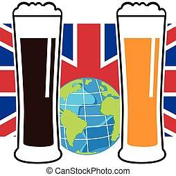 bandiera nazionale, birra, vettore, occhiali, europeo