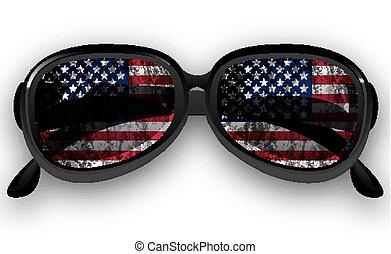 bandiera, occhiali da sole, ci