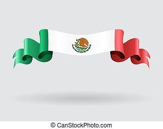bandiera, ondulato, messicano, illustration.