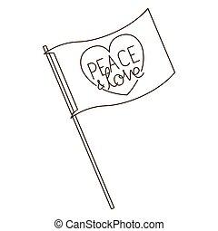 bandiera, pace, amore, isolato, icona
