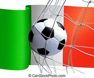 bandiera, palla calcio, italiano