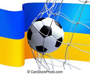 bandiera, palla calcio, ucraino