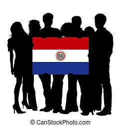 bandiera paraguay, giovani persone