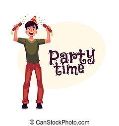 bandiera, poppers, invito, compleanno, sagoma, cappello festa, uomo