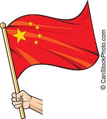 bandiera, porcellana, tenendo mano