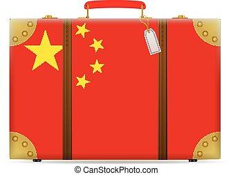 bandiera, porcellana, viaggiare, valigia