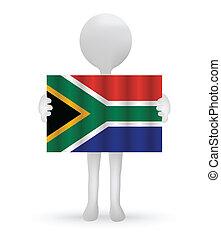 bandiera, presa a terra, africano, piccolo uomo, sud, 3d