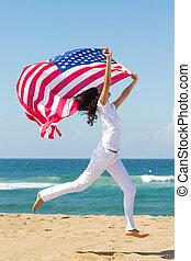 bandiera, presa a terra, donna, americano, giovane
