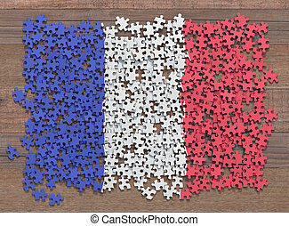 bandiera, puzzle, francia