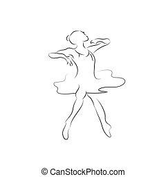 bandiera, ragazza, simbolo, classe, ballo, logo., astratto, fondo, ginnasta, pose., logotipo, idoneità, studio, ballo, stilizzato, design.