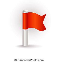 bandiera, rosso, icona