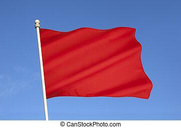 bandiera, rosso, pericolo