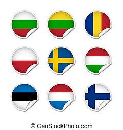 bandiera, set, adesivi, 3