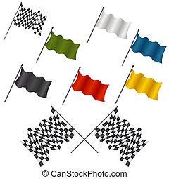 bandiera, set, da corsa