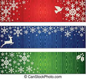 bandiera, set, sfondi, natale, fiocchi neve