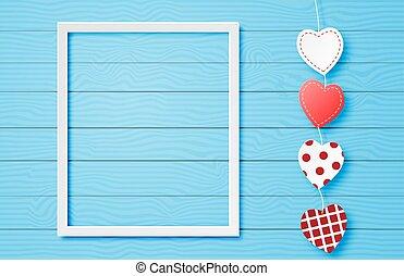 bandiera, sfondo digitale, taglio, forma blu, mestiere, valentine, cuore, carta, appendere, style., giorno, cornice, carino, arte, concept.