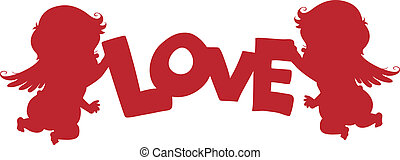 bandiera, silhouette, amorini, amore