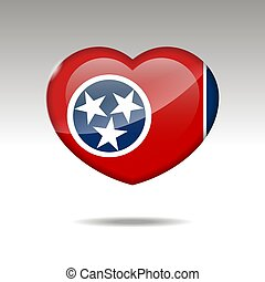 bandiera, simbolo., amore, stato, icon., cuore, tennesee