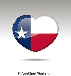 bandiera, simbolo., amore, stato texas, icon., cuore