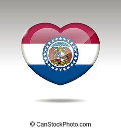 bandiera, simbolo., missouri, amore, stato, icon., cuore