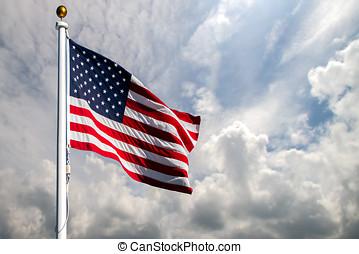 bandiera, soffiando, americano, vento