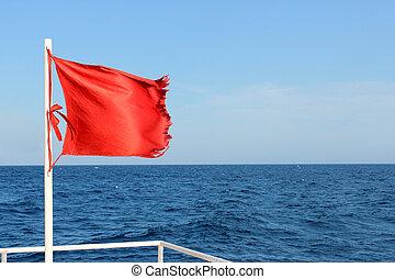 bandiera, sopra, mare, rosso