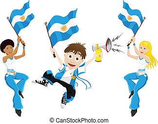 bandiera, sport, ventilatore, argentina, corno