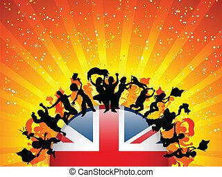 bandiera, sport, ventilatore, regno unito, folla