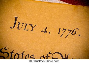 bandiera, stati, unito, dichiarazione, indipendenza, vendemmia