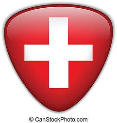 bandiera svizzera, lucido, bottone