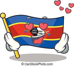 bandiera, swaziland, cadere, felice, disegno, amore, cartone animato, carino