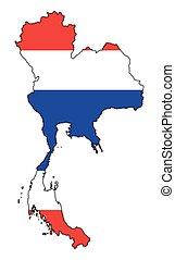 bandiera tailandia, mappa