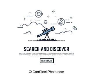 bandiera, telescopio, ricerca