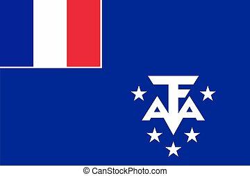bandiera, terre, meridionale, antartico, francese