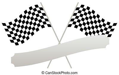bandiera, testi, forma, 2, attraversato, vuoto, bandiere, da corsa, placca