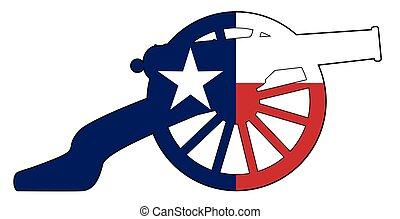 bandiera, texan, cannone, guerra, silhouette, civile