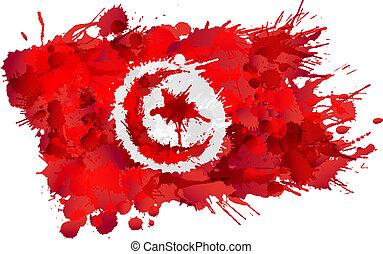 bandiera tunisia, fatto, schizzi, colorito