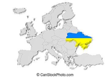 bandiera ucraina, -, mappa, 3d