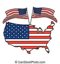 bandiera, unito, bianco, stati, mappa fondo