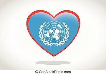 bandiera, unito, cuore, nazioni, forma.