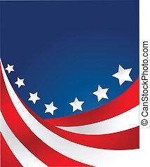 bandiera usa, in, stile, vettore